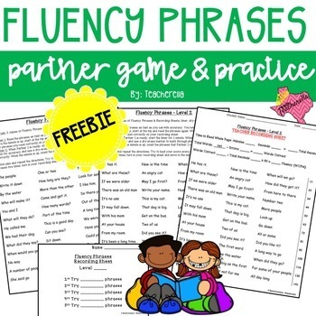 Reading Fluency Phrases Partner Game & Practice (390 Fry P