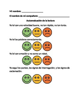 Reading Fluency Self-evaluation (Bilingual)