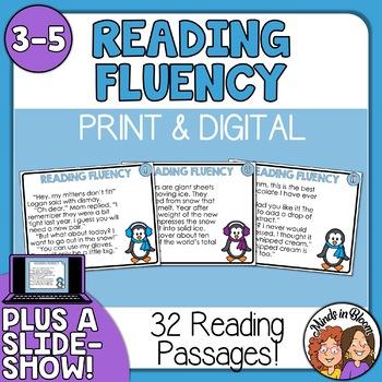 Reading Fluency Task Cards - for Winter