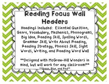Reading Focus Wall Headers