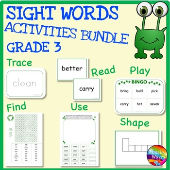 SIGHT WORDS Activities BUNDLE Level 3 flash Cards, Reading
