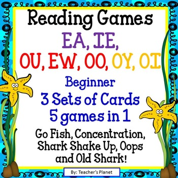 Reading Games -  Easy EA, IE, OU, EW, OO, OY and OI Words