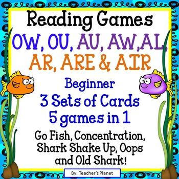 Reading Games -  Easy OW, OU, AU, AW, AL, AR, ARE and AIR Words
