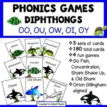 Reading Games - OO, OU, OW, OI, OY Words