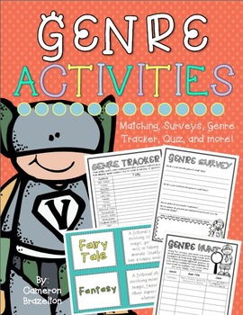 Reading Genre Activities (Matching Game, Surveys, Quiz, Bo