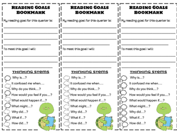 Reading Goals Bookmark with Comprehension Strategies and T