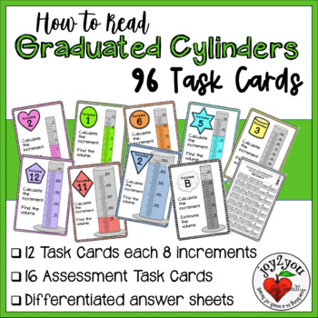 Reading Graduated Cylinders Task Cards Different Scales -