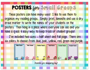Reading Group Assignment Posters