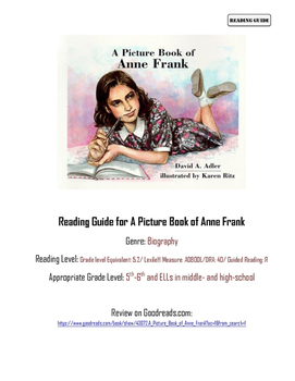 "Reading Guide for ""A Picture Book of Anne Frank"""