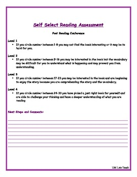 Pre and Post Reading Conference Assessment