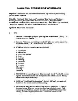 Reading Help Wanted Ads Lesson Plan + Worksheets & Answer Key
