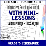Reading Interactive Notebook with EDITABLE Lessons 3rd Gra