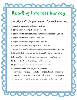 Reading Interest Survey