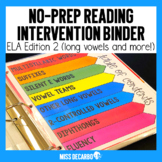 Reading Intervention Binder 2nd EDITION No Prep