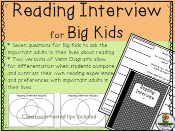 Back to School Daily 5 Reading Interview for BIG Kids