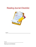 Reading Journal Checklist for Seat work or Guided Reading Groups