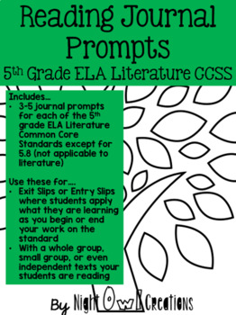 Reading Journal Prompt Pack:  ALL Common Core for Literatu
