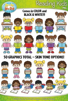 Reading Kid Characters Clipart Set — Includes 50 Graphics!