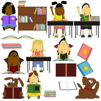 Reading Clip Art Colored and Black and White