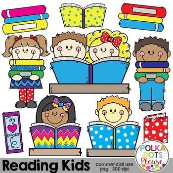 Reading Kids and Books {Graphics for Commercial Use}