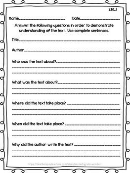 Reading Literature Assessments Common Core 2nd Grade RL 1- RL 10