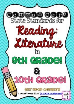 9th and 10th grade ELA Reading Literature Common Core Stan