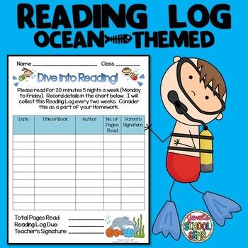 Ocean Theme Reading Log