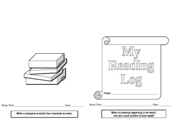Reading Log Booklet for SSR, Independent Reading, or Liter