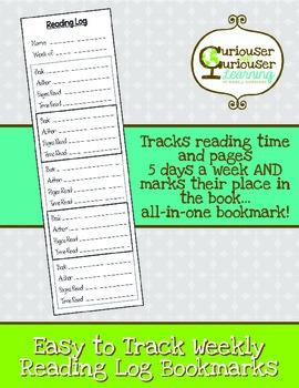 FREEBIE! Reading Log Bookmarks
