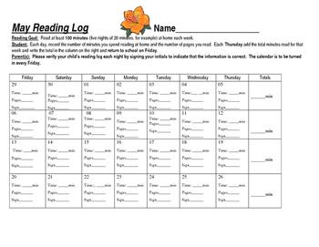 Reading Log Calendar (May)
