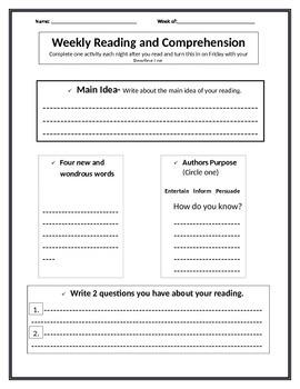 Reading Log - Comprehension Check