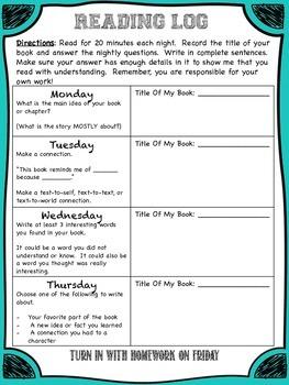 Reading Log/ Reading Homework
