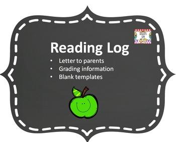 Reading Log, Reading Log Letter and Reading Log Grading Di