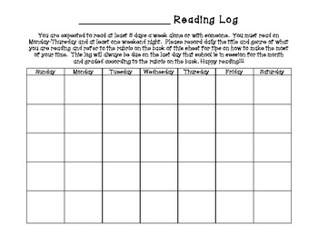 Monthly Reading Log Calendar, Rubric & Genre Code Guide