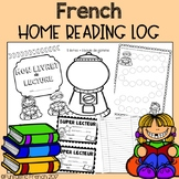 French Daily Reading Log program (at home tracking sheet)