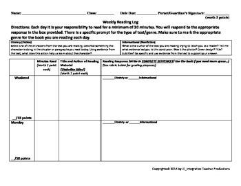 Reading Log for Upper Grades using Evidence