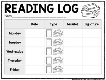 Reading Log (for special education or early childhood)