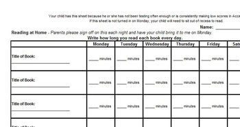 Reading Log (for students to record what they read at home)