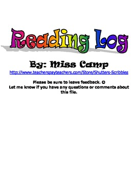 Reading Log with Activities