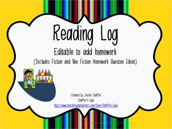 Reading Log with Customizable Homework