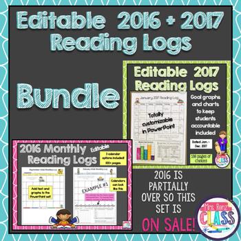 Editable Reading Calendars for Reading Logs for 2016 & 201