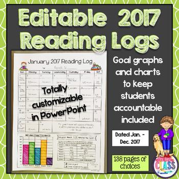 Reading Logs * 2017 Reading Calendars * Editable * Reading