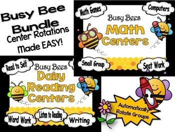 Reading & Math Busy Bee Themed Bundle of Automated PowerPo