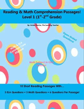 Reading & Math Comprehension Short Passages (Level 1)