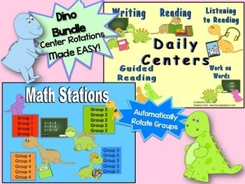 Reading & Math Dinosaur Themed Bundle of Automated PowerPo