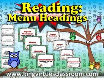 Reading: Menu Headings for Reading Strategies or Skills -