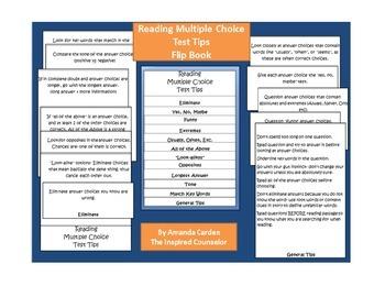 Reading Multiple Choice Test Tips for Flipbook