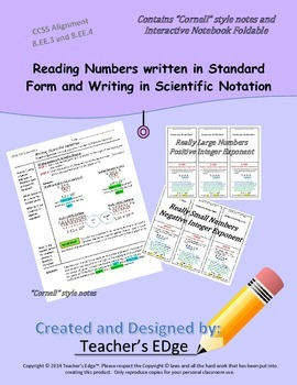 Reading Numbers written in Standard Form and Writing in Sc
