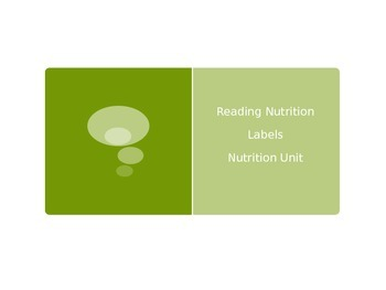 Reading Nutrition Labels PowerPoint