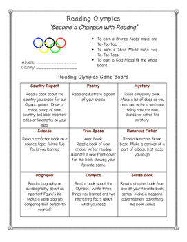 Reading Olympics: Choice Board, Country Report Sheet, and
